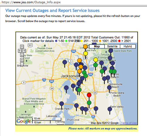 JEA-Jacksonville-Florida-Outage-Information-Map