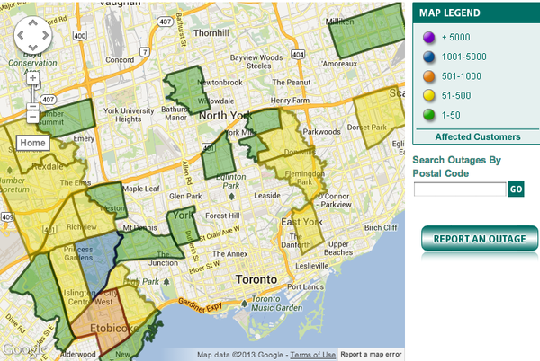 Toronto-hydro-power-outage-map