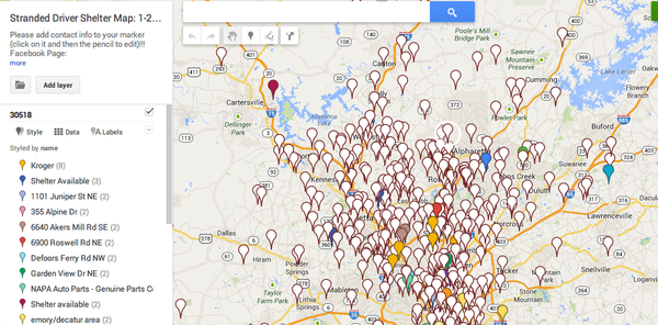 Atlanta-snowstorm-stranded-driver-shelter-map-January-28-2014